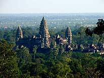 Cambodia: View from the hill of the 'Phnom Bakheng'-Temple towards the 5 towers of the main temple of Angkor Wat