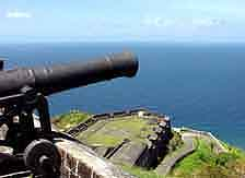 St. Kitts: A canon of 'Brimstone Hill' fortress watching the coast