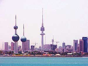 Kuwait: Skyline of Kuwait City with the water towers