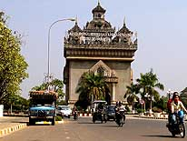 Laos: The town gate 'Patuxai' in Vientiane - a replica of Paris' 'Arc de Triomphe'