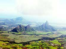 Mauritius (South): Typical steep mountains rising from the sugar cane fields