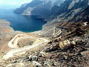 Oman/Musandam: View to the bay Khor an-Najd, southeast of Khasab