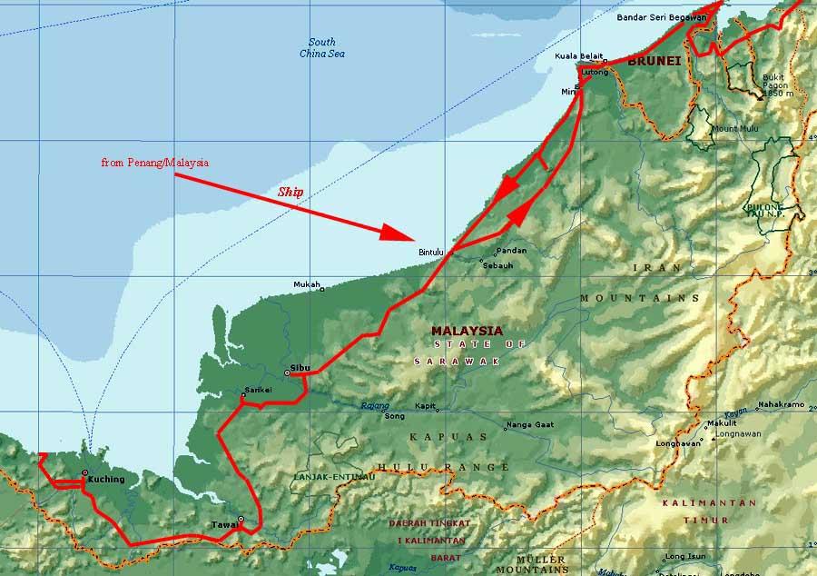 Worldrecordtour Asia Southeast Asia Borneo Malaysia East - Kuching map
